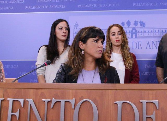 Rueda de prensa de la secretaria general de Podemos Andalucía, Teresa Rodríguez