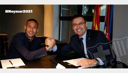 Neymar signa fins al 2021 amb una clàusula ascendent fins a 250 milions