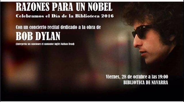 Cartel del concierto-recital sobre Bob Dylan