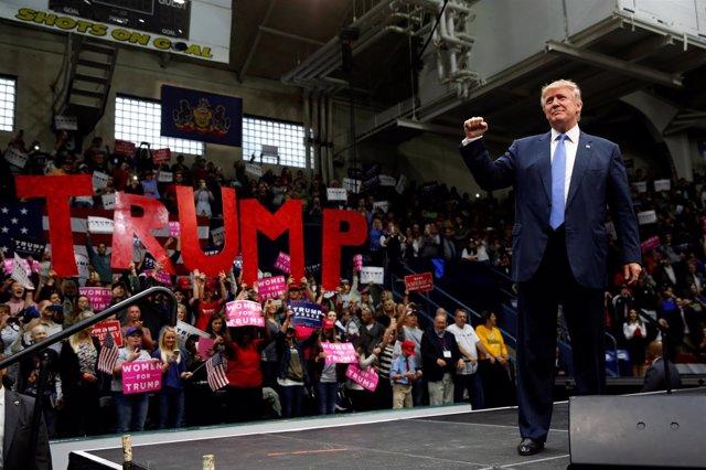 Doinald Trump durante un acto de campaña