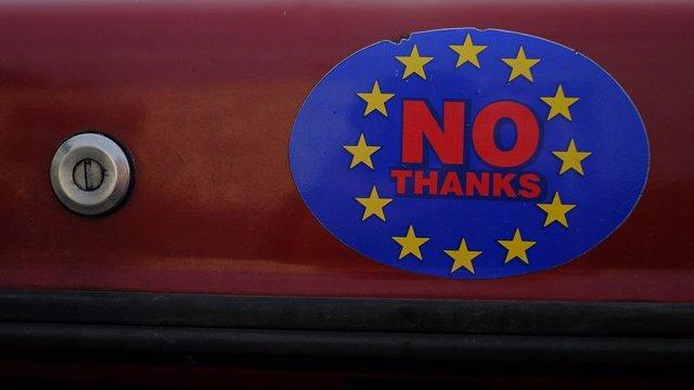 Pegatina a favor del 'Brexit'