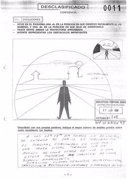 Folio de informe ovni desclasificado por Defensa con un caso en Noia (Galicia)
