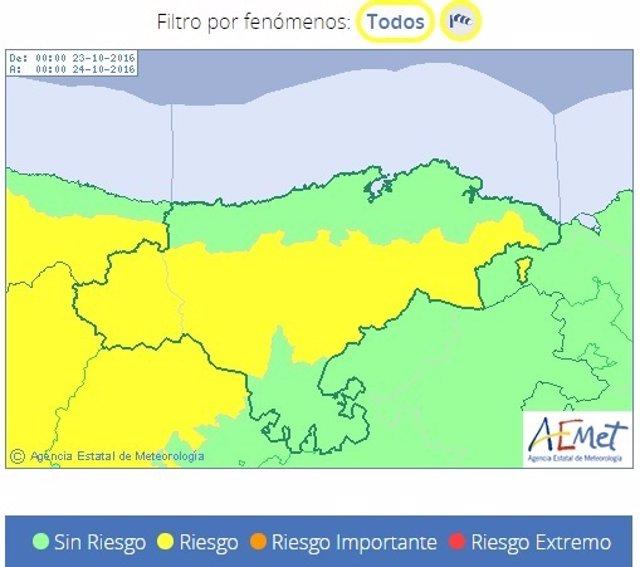 Cantabria en alerta amarilla por viento