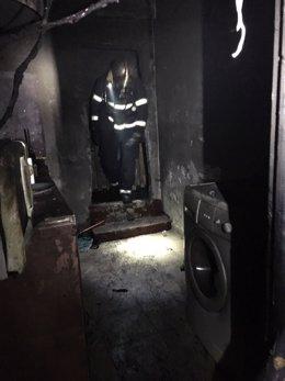 Incendio en una vivienda de Algeciras (Cádiz)