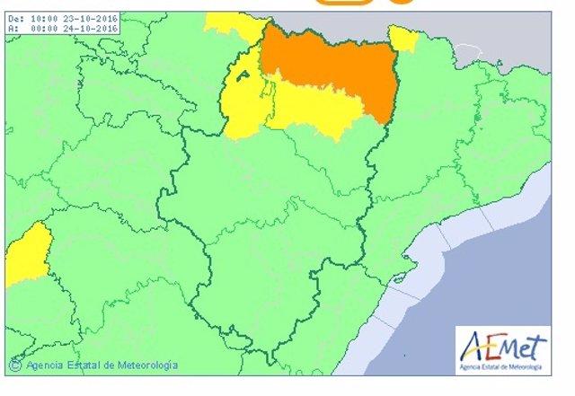Alerta naranja por lluvias en el Pirineo oscense.