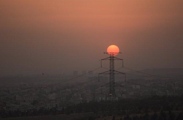 Vista de Teherán al atardecer