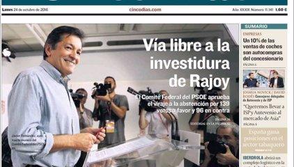 Las portadas de los periódicos económicos de hoy, lunes 24 de octubre