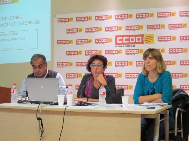 G.Saliba (CC.OO), A. Garcia (CC.OO) y Maria de la Fuente (IQ)