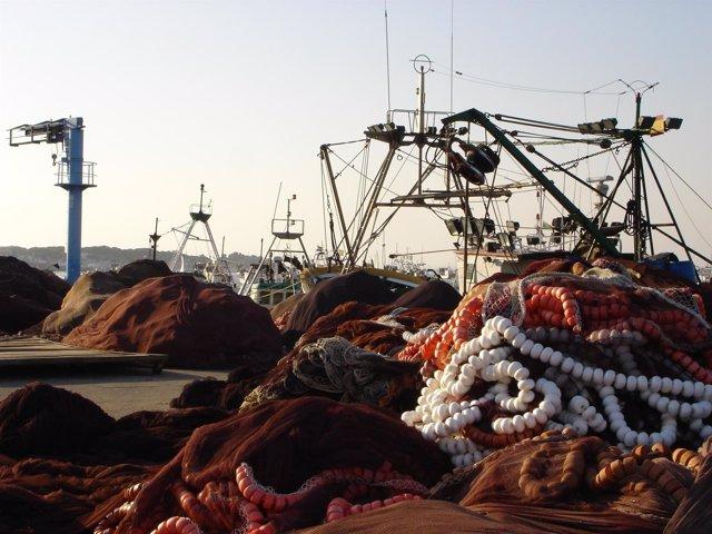 Redes y aparejos de pesca en el puerto de Punta Umbría.