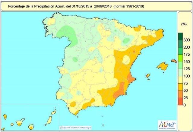 Distribución de las lluvias del 1-10-2015 al 20-9-2016. Balance hídrico