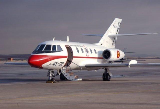 Un avión Falcon 20 utilizado en España en los años setenta
