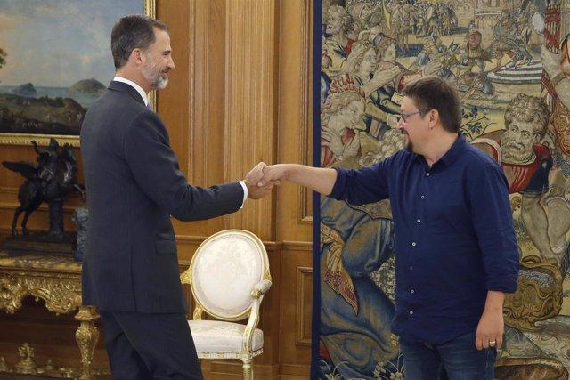 El rey Felipe recibe al al portavoz de En Común Podem, Xavier Domènech