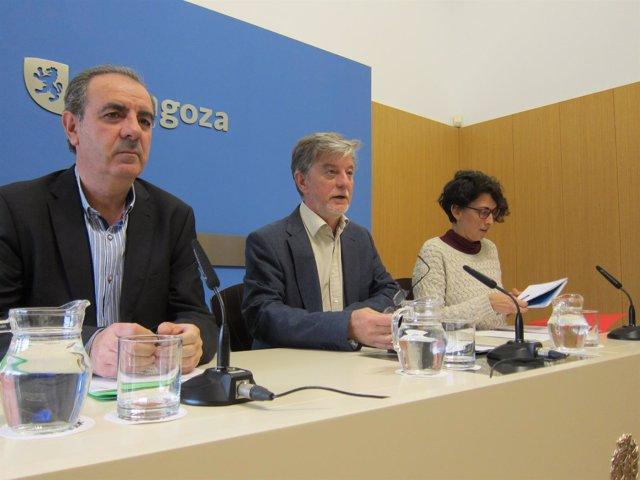 El alcalde de Zaragoza, Pedro Santisteve, y la consejera Elena Giner.