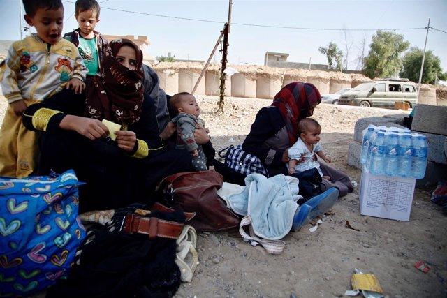 Familia de desplazados llega a Kirkuk