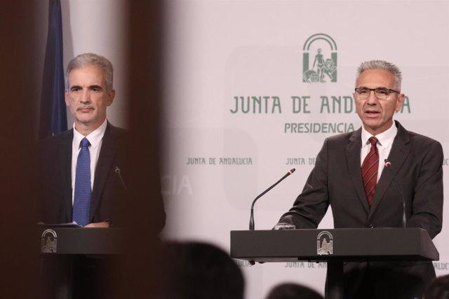 El portavoz, Miguel Ángel Vázquez, y el consejero de Salud, Aquilino Alonso