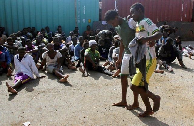 Un grupo de inmigrantes interceptado en Libia
