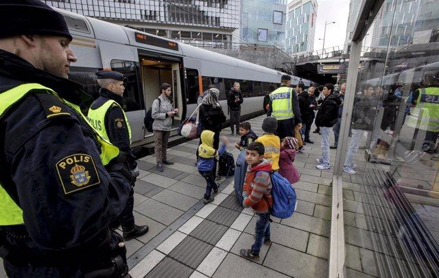 Controles en la frontera sueca con Dinamarca