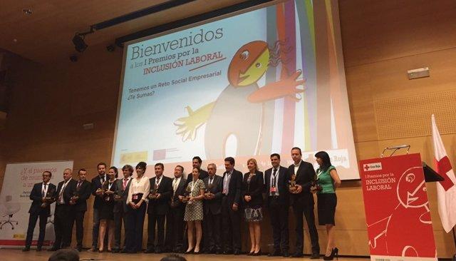 Los distinguidos por los I premios por la Inclusión Laboral de Cruz Roja