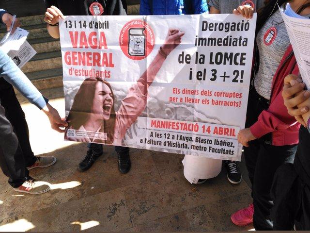 Huelga manifestación Sindicato de Estudiantes Valencia 13/04/2016