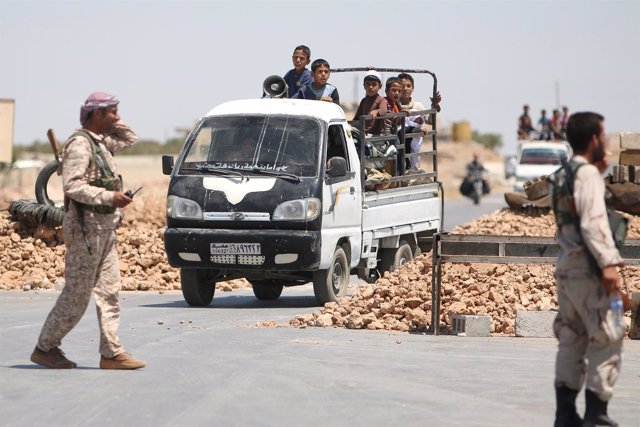 Rebeldes sirios en Manbij
