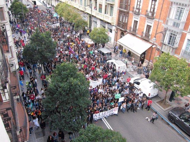 Manifestación de estudiantes en Valladolid