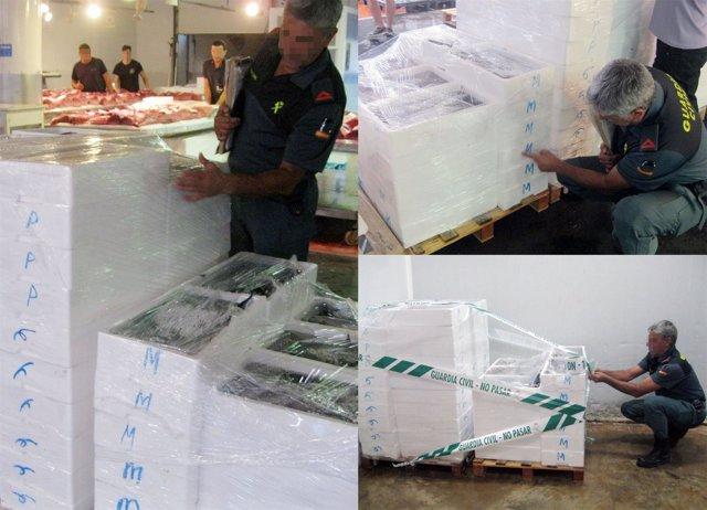 La Guardia Civil decomisa cerca de media tonelada de pescado sin etiquetar