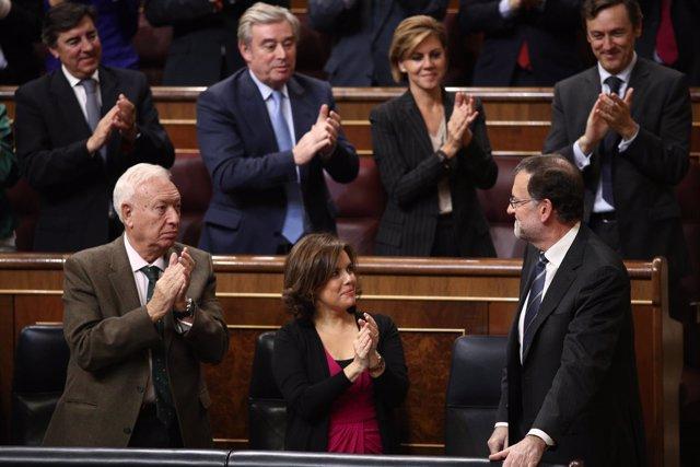 Rajoy, Margallo y Santamaría en el debate de investidura