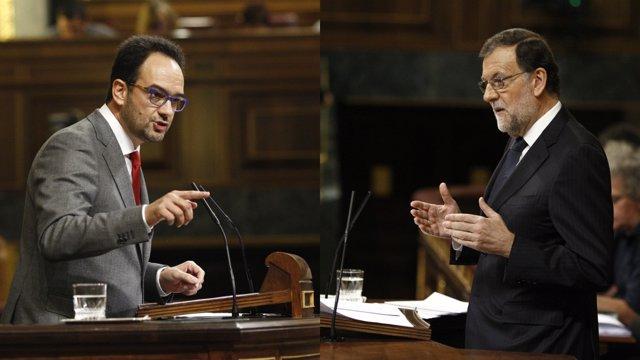 Antonio Hernando y Mariano Rajoy en el Congreso