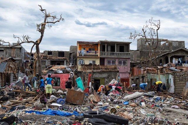 Destrozos en Haití tras el paso del huracán 'Matthew'