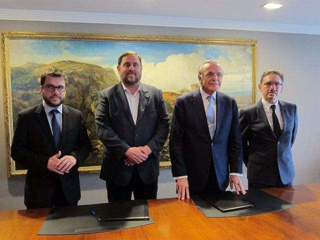 P.Aragonès, O.Junqueras, I.Fainé y J.Giró renuevan su colaboración social