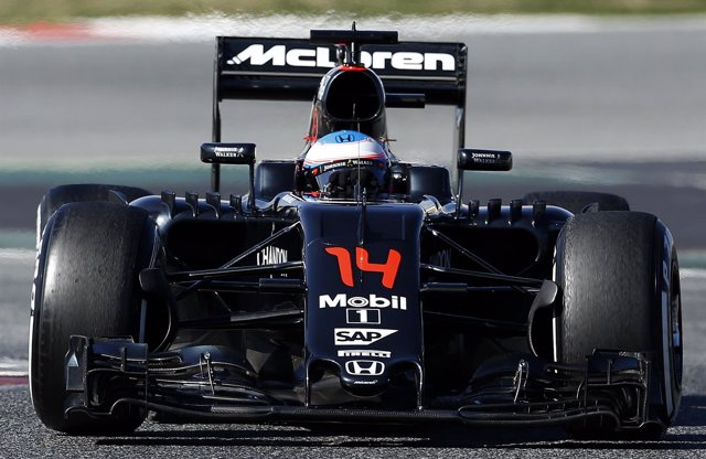 Fernando Alonso en el test de Montmeló