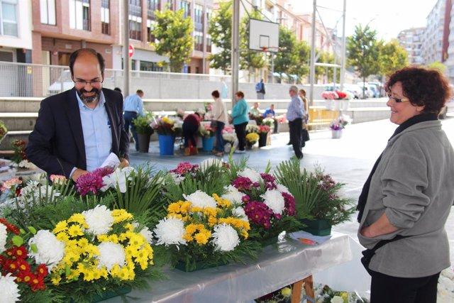 Mercado de flores por Todos los Santos