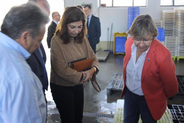 Rosa Quintana en una visita a Ferrol