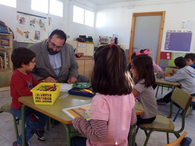 Germán González con los alumnos de El Temple