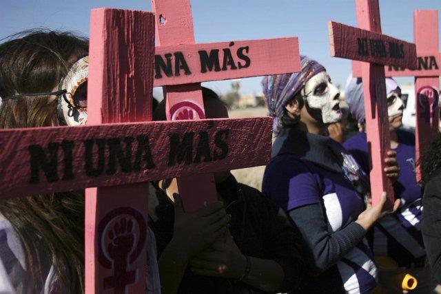 Protesta en Ciudad Juárez en contra del feminicidio