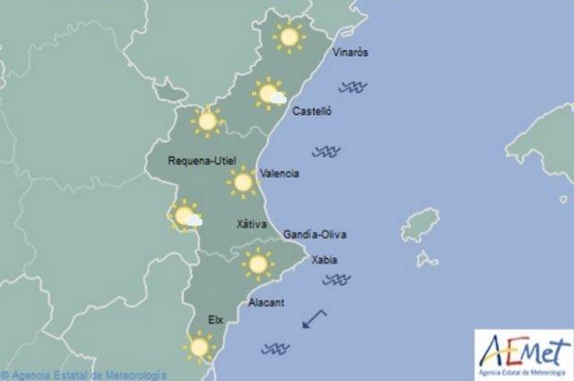 Predicción del tiempo para este sábado en la Comunitat Valenciana