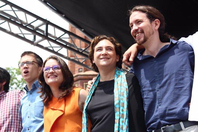 I.Errejón, M.Oltra, A.Colau y P.Iglesias en una imagen de archivo.