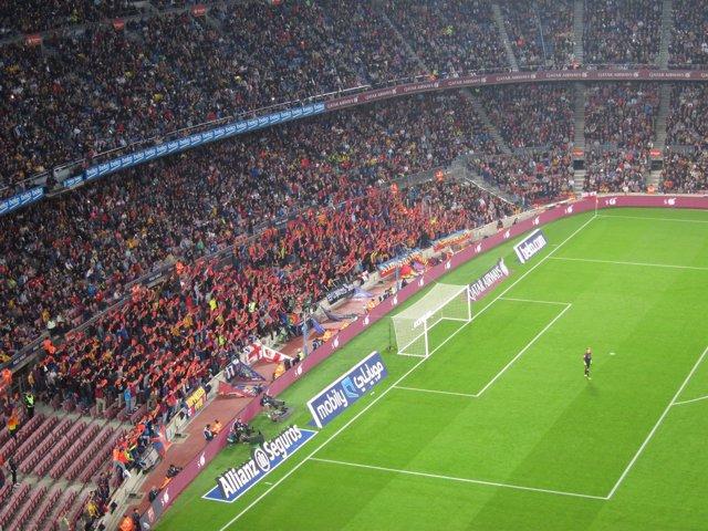 Pañolada contra Javier Tebas Camp Nou