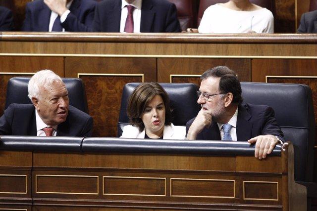 Margallo, Rajoy y Santamaría en el Congreso