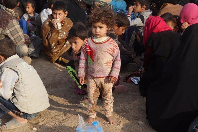Niño refugiado de Mosul