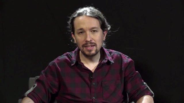 Fotograma del vídeo de Pablo Iglesias (Podemos) a la VII Asamblea de EUiA