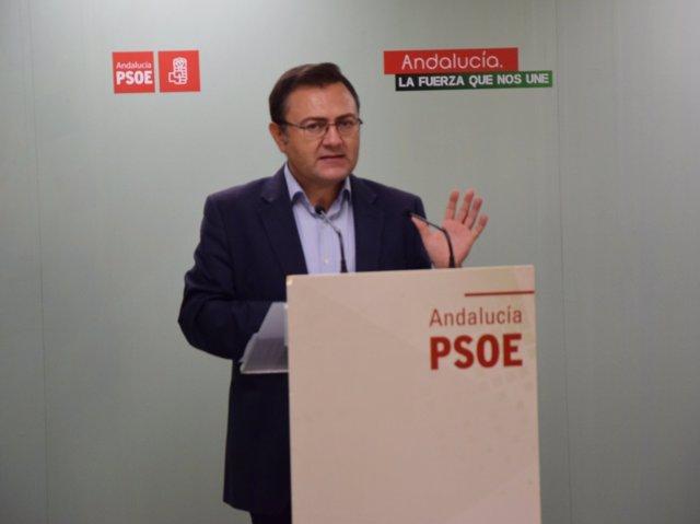 El secretario general del PSOE de Málaga, Miguel Ángel Heredia, en rueda
