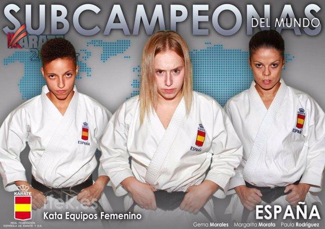 Margarita Morata, Paula Nieto y Gema Morales kata karate
