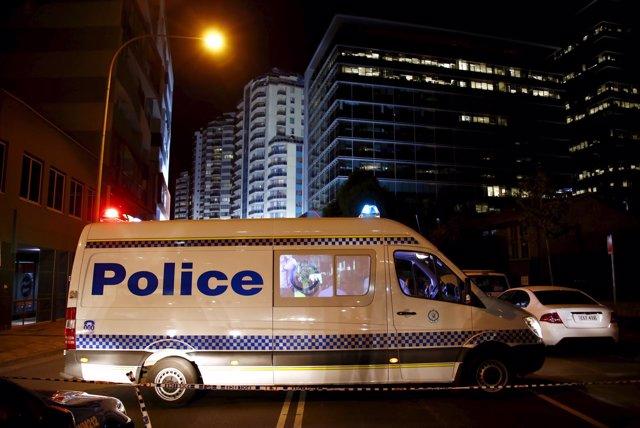 Un furgón de la Policía australiana