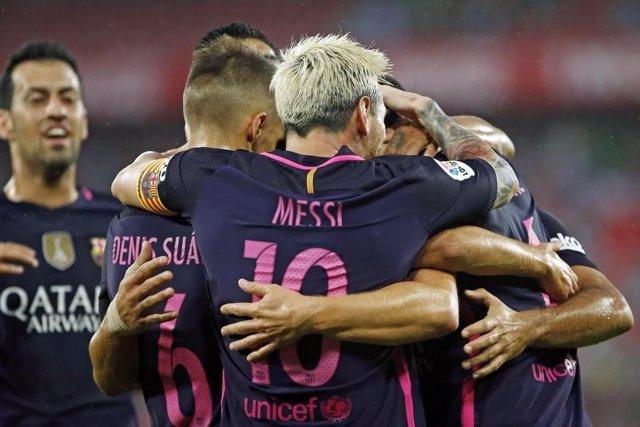 Messi celebra un gol con el Barcelona
