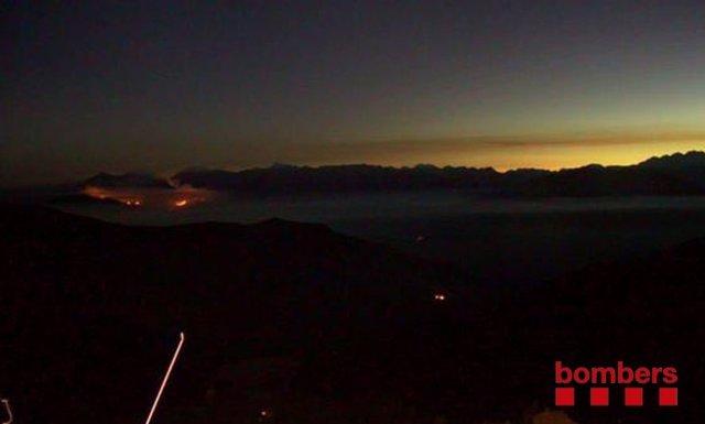 Incendio en La Guingueta d'Àger (Lleida) este lunes