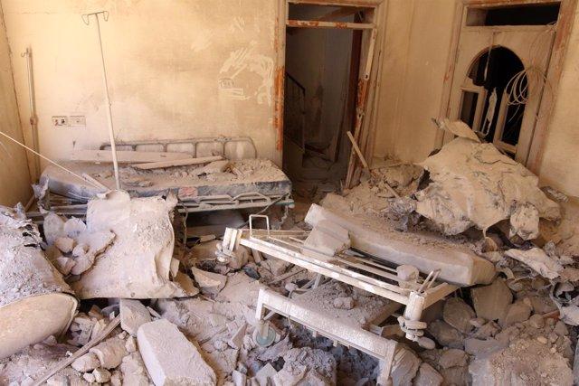 Un hospital bombardeado en la región de Alepo