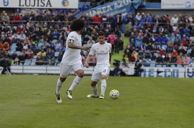 James Rodriguez y Marcelo en el Getafe C.F. S.A.D. - Real Madrid C.F.