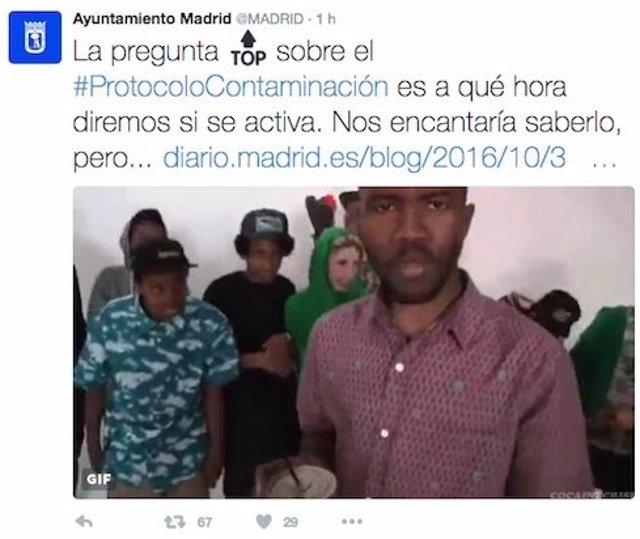 Tuit borrado de la cuenta del Ayuntamiento de Madrid