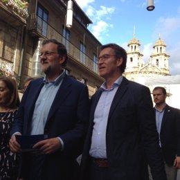 Mariano Rajoy y Alberto Núñez Feijóo pasean por Pontevedra
